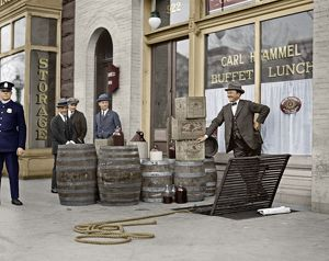 digitally colorized/liquor raid 1923 prohibition officers beer wine