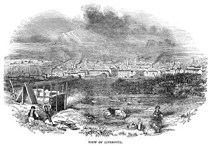 LIVERPOOL, 1842. View of Liverpool, England. Engraving, 1842