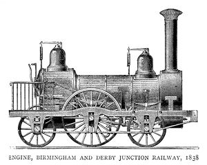 LOCOMOTIVE, 1838. Steam engine for the Birmingham and Derby Junction Railway, 1838