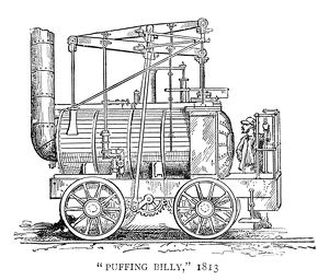 LOCOMOTIVE: PUFFING BILLY. The 'Puffing Billy' steam locomotive built by