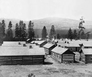 LOG CABIN BARRACKS. The winter housing quarters of the British North American Boundary