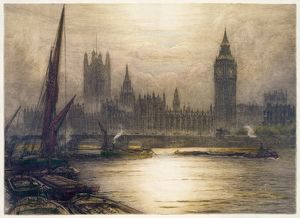 LONDON, c1920. View of the Palace of Westminster and Big Ben in London, England