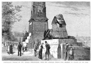 LONDON: CLEOPATRA'S NEEDLE. A view of the base of Cleopatra's Needle on the