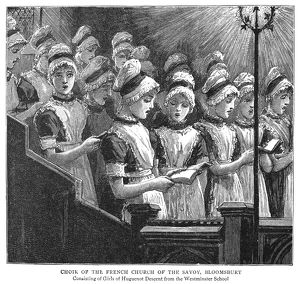 LONDON: FRENCH CHOIR, 1885. Choir of the French Church of the Savoy in London, England