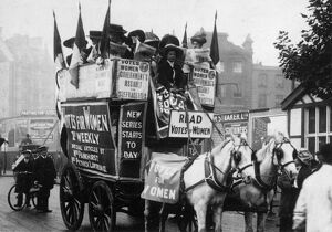 LONDON: SUFFRAGETTES, 1909. Advertising the new issue of the suffragette weekly Votes