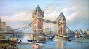 LONDON: TOWER BRIDGE, 1895. Looking west on the Thames River to the recently opened Tower Bridge