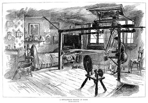 LONDON: WEAVER, 1885. A weaver at work in Spitalfields, London. Engraving, English