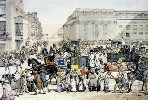 LONDON: WHITEHALL. Rush-hour at Whitehall, London, England, 1820s