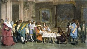 LOUIS XIV & MOLIERE. Moliere breakfasting with Louis XIV at the court in Versailles, France, c1665