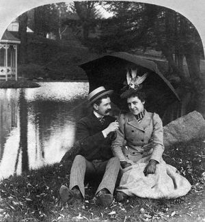 LOVE, 1900. Single panel from stereoscopic view, American.