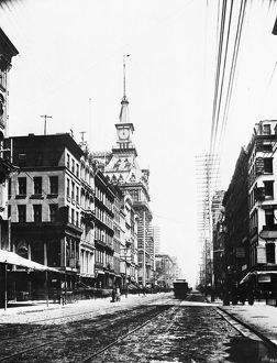 LOWER BROADWAY, c1890. View of Broadway, New York City, looking north from Cortlandt Street