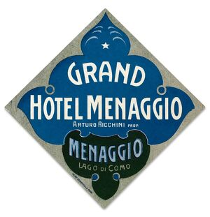 Luggage label from the Grand Hotel Menaggio in Italy, early 20th century.