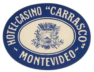 Luggage label from the Hotel-Casino 'Carrasco' in Montevideo, Uruguay, 20th