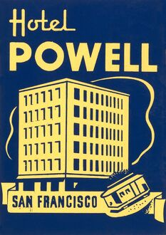 Luggage label from the Hotel Powell in San Francisco, California, 20th century.
