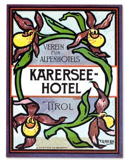 Luggage label from the Karersee Hotel in Tirol, Austria, early 20th century.