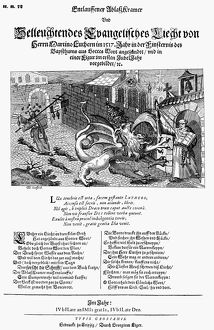 LUTHER ANNIVERSARY, 1518. German broadside, 1518, commemorating the first anniversary