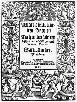 LUTHERAN TITLE PAGE, 1525. Title page for 'Against the Murderous, Thieving Hordes