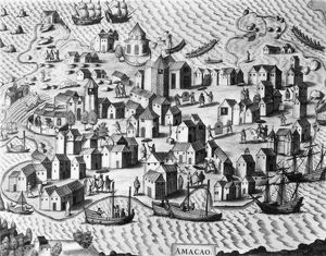 MACAO COLONY, 1598. /nThe Portuguese colony of Macao, which was the major port for foreign trade with China for 300 years. Engraving by Theodor de Bry, 1598.