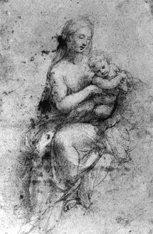 MADONNA & CHILD. Drawing by Raphael (1483-1520)