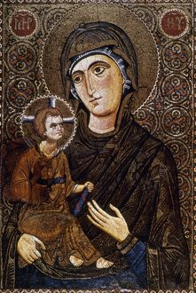 religious icons/madonna icon mosaic icon virgin child early