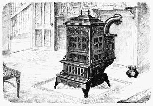 MAGAZINE STOVE, 1880. American patent magazine stove and warming oven, 1880