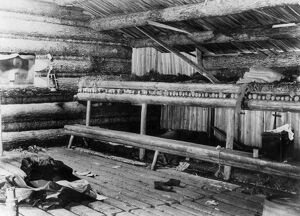 MAINE: LOG CABIN, 1889. Interior of loggers' camp on Mud Pond in which 39 nights