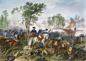 Major General Nathaniel Greene (waving hat) at the Battle of Eutaw Springs, South Carolina