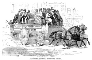 MANCHESTER: OMNIBUS, 1857. A three-horse-drawn omnibus in Manchester, England