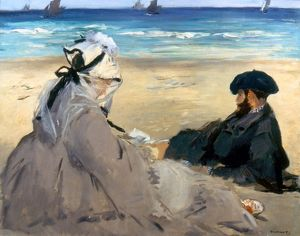 MANET: ON THE BEACH, 1873. Oil on canvas by Edouard Manet.