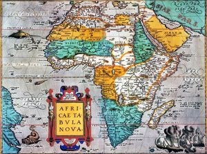 MAP OF AFRICA /nfrom the 1595 edition of Abraham Ortelius' atlas 'Theatrum