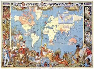 MAP: BRITISH EMPIRE, 1886. /nMap, 1886, of the British Empire by Walter Crane
