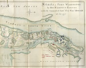 MAP: FORT WASHINGTON, 1776. Engraved map showing the English attacks on Fort Washington