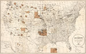 MAP: RESERVATIONS, 1888. Indian reservations within the United States and territories