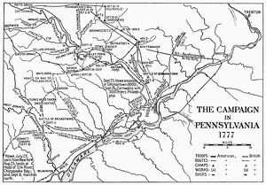Map showing the situation of British and Continental Army forces in Pennsylvania