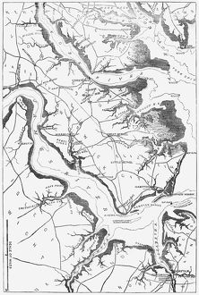 MAP: YORKTOWN, 1862. 'Map of Yorktown and the vicinity, showing the position of