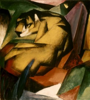 MARC: THE TIGER, 1912. Oil on canvas by Franz Marc.