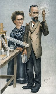 MARIE AND PIERRE CURIE. English caricature lithograph, 1904.