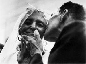 MARRYING AT 100. A 100 year old bride and her 71 year old groom in Recife, Brazil, January 1971