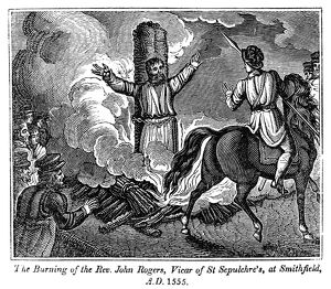 MARTYRDOM OF JOHN ROGERS. The burning of Reverend John Rogers, Vicar of St