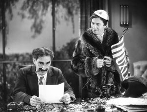 THE MARX BROTHERS, 1932. Groucho (left) and Chico Marx in 'Horse Feathers,' 1932.