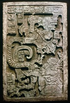 MAYAN GLYPH. A worshipper kneeling before a double-headed serpent deity: Lintel 25