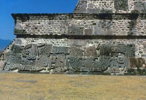 MAYAN PYRAMID, c450 A.D. Mayan pyramid with feathered serpents, from Xochicalco, Mexico, c450 A