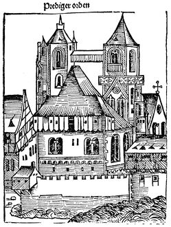 MEDIEVAL CHURCH. Woodcut from 'The Nuremberg Chronicle,' 1493