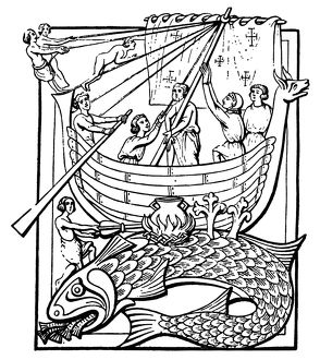 MEDIEVAL WHALE. Medieval woodcut showing sailors who landed on a whale, thinking