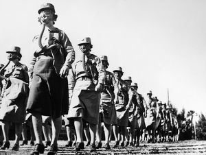 world war ii/members womens army corps perform drill wearing