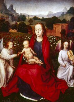 MEMLING: VIRGIN AND CHILD. 'The Virgin and Child Between Two Angels.' Oil on panel