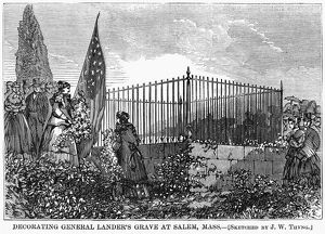 MEMORIAL DAY, 1868. Mourners decorating the grave of General Frederick W. Lander in Salem