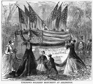 MEMORIAL DAY, 1868. Mourners gathered at the Unknown Soldiers' Monument in Arlington