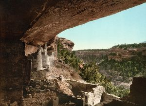 MESA VERDE, COLORADO. Prehistoric Pueblo Native American dwelling ruins at Mesa Verde National Park