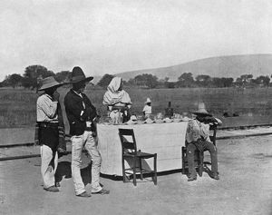 MEXICO: COFFEE, c1890. A coffee stand along the tracks of the Mexican Central Railroad